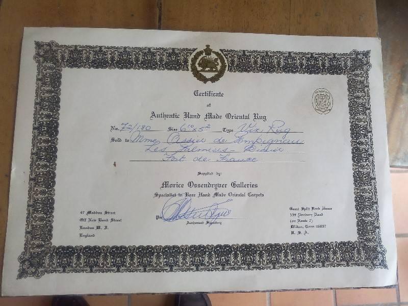 Grand tapis oriental avec certificat annonce meubles et d coration fort de france martinique - Certificat d heredite avec porte fort ...