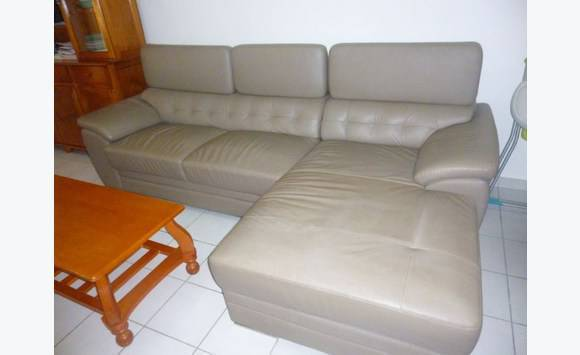 Canap cuir beige avec m ridienne annonce meubles et d coration saint lau - Canape disponible immediatement ...
