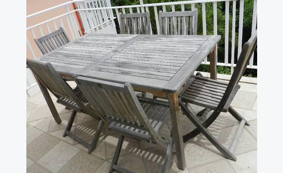 Table en teck et 6 chaises annonce mobilier et for Mobilier exterieur teck