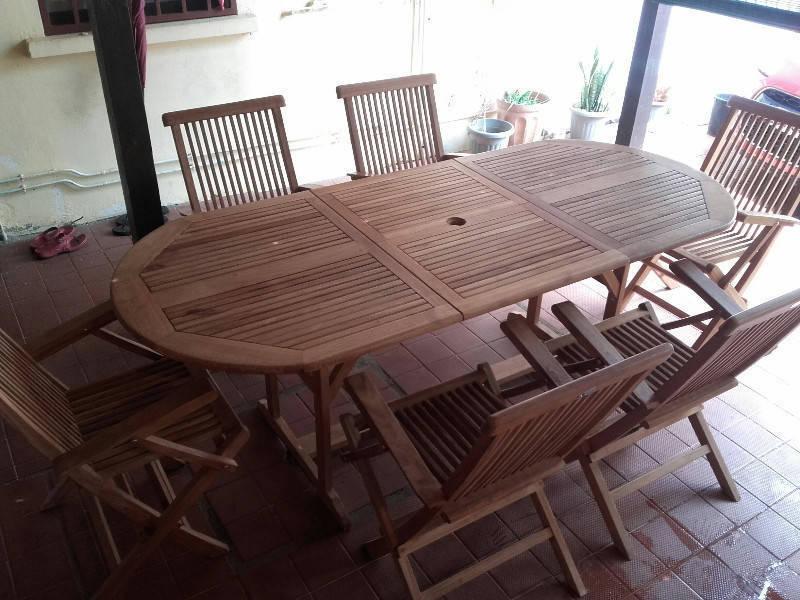 Ensemble de table et fauteuils en teck annonce for Mobilier exterieur teck