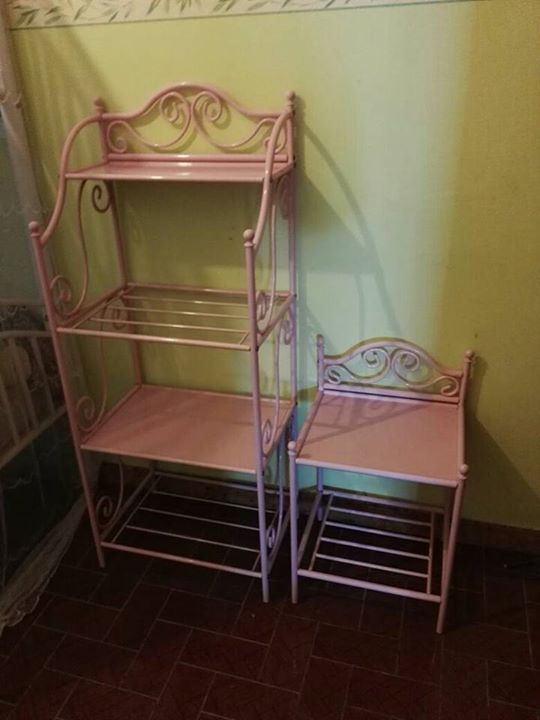 lit 180x90 fer forg rose table de nuit et tagere. Black Bedroom Furniture Sets. Home Design Ideas