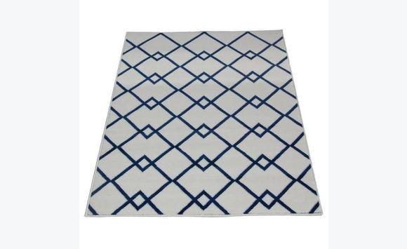 tapis de salon 160x230 cm beige et bleu