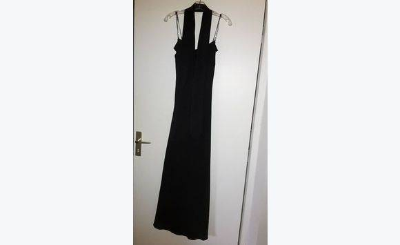 Dress With Rhinestone Straps Long Black Size M Clothing Saint