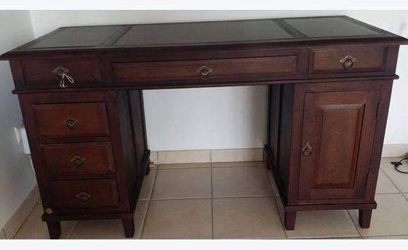 Magnifique bureau teck et cuir colibri spirit meubles et