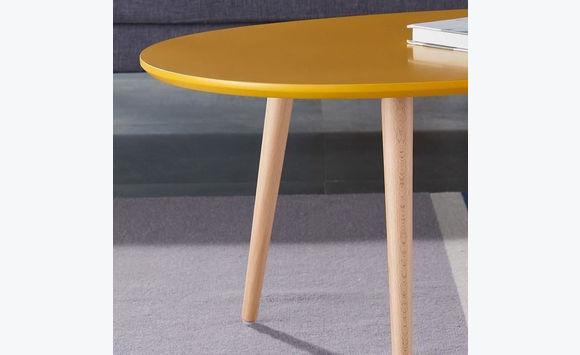 table basse scandinave laqu e jaune moutarde meubles et d coration saint martin. Black Bedroom Furniture Sets. Home Design Ideas