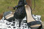 Navy Blue heeled glitter shoes.