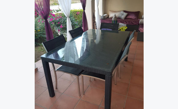 Table Resin 6 8 Pers 5 Chairs Alu