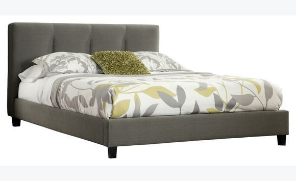 Grey headboard and bed frame