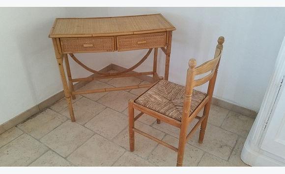Bureau console rotin avec chaise meubles et décoration saint