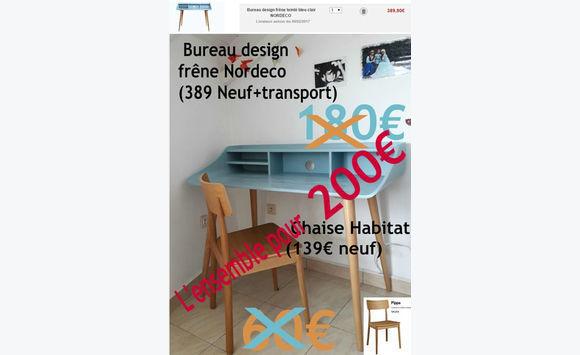 Ensemble bureau design chaise tout frêne annonce meubles