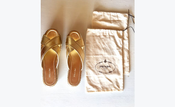 79fdb0ac319 Prada Gold Leather Platform Espadrille Sandals - Shoes Saint Barthélemy •  Cyphoma