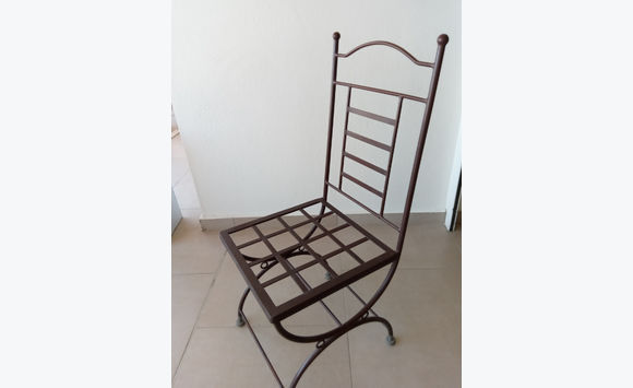 Table Zellige + 6 Wrought Iron Chairs