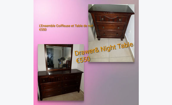Dressing table and bedside wooden set