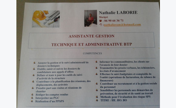 assistante  administrative et technique du btp